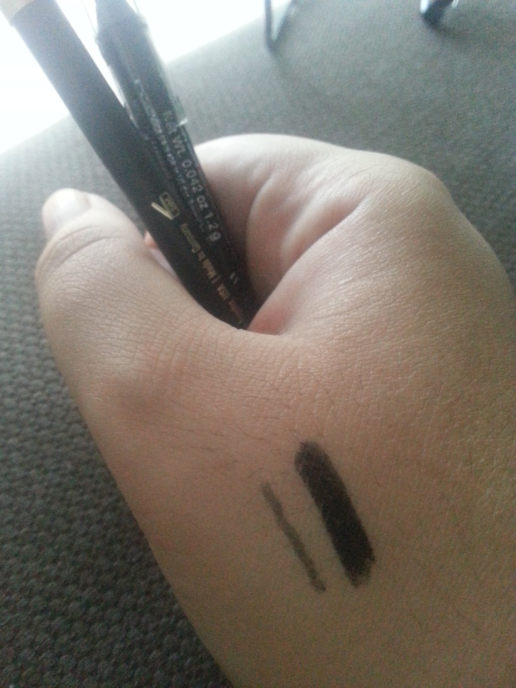 Comparison of Napoleon Perdis eye liner, on left, with Rimmel London's Scandaleyes liner BOUGHT AT MORE THAN HALF THE PRICE.